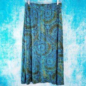 Chris & Banks Gorgeous Boho Blue Tribal Maxi Skirt